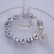 Clear Sparkle Swirl Heart Personalised Wine Glass Charm - Elegance Style